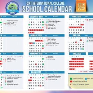 SKT International College: School Calendar